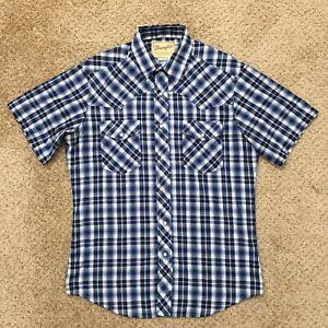 Wrangler Western Fashion Snap Shirts Mens Medium Short Sleeve Blue/White Plaid