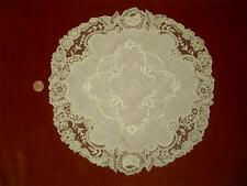 LG HANDMADE Antique Vtg BELGIAN BRUSSELS POINT DE GAZE LACE CENTERPIECE DOILY