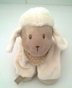 "Nattou Lamb Sheep Plush Comforter Taggie Beanie Toy Easter Cream Taupe Scarf 7"""