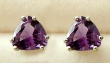 Amethyst  Earrings 6x6 mm Faceted Trillions/925 SS Post & Nut  .