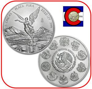 2020 Mexico Libertad 5 oz BU Mexican Silver Coin in direct fit capsule