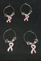 WINE GLASS CHARMS MARKERS ~ Survivor ~ PINK BREAST CANCER RIBBON ~ LOT OF 4