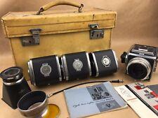 Hasselblad 1000F Set w/ 80mm F/2.8 Tessar Lens - 4 Backs, Case & More...