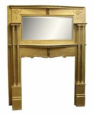 Birch Mantel with Beveled Mirror & Four Fluted Columns