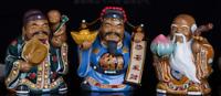 China Wucai Porcelain 3 Longevity God Fu Lu Shou Tongzi Yuanbao Peach Statue Set