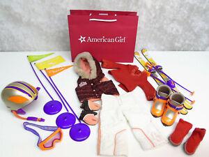 American Girl Doll NICKI'S SKI WEAR OUTFIT + SKI GEAR Nikki Helmet Goggles Poles