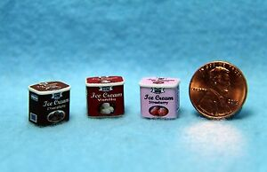 Dollhouse Miniature Replica Ice Cream Carton Chocolate Vanilla Strawberry 54280