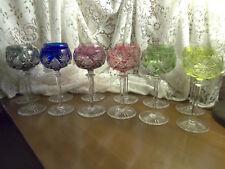 Set of 12 Val St Lambert Berncastel Cut to Clear Crystal Wine Hocks