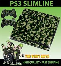 PLAYSTATION PS3 SLIM GREEN ARMY COMBAT CAMOUFLAGE STICKER SKIN & 2 PAD SKINS