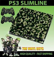 Playstation Ps3 Slim Verde Combate Del Ejército Camuflaje etiqueta engomada de la piel y 2 Pad Skins