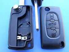 3 BUTTON REMOTE FLIP KEY FOB CASE for PEUGEOT PARTNER, 407, CITROEN BERLINGO, C5