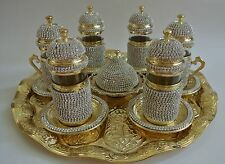 Handmade Turkish Swarovski Coated Copper/Glass Water-Tea-Zamzam Serving Set