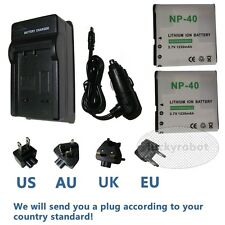 Battery(2) + Charger For Casio NP-40 Exilim EX-Z1000 EX-Z1050 EX-Z1080 EX-Z1200