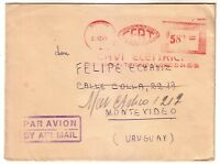 ITALY 1949  AIR MAIL COVER TO URUGUAY ELECTRICITY METER POSTAGE