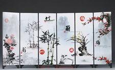 Chinese  Lacquerware Handwork Painting Plum&Orchid&Bamboo&Chrysanthemum Screen