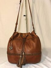 Vintage Brighton Leather Bucket Drawstring Hobo Slouch Tote Purse Cross body Bag