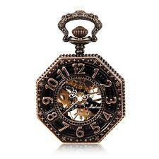 Copper Tone Octagonal Steampunk Mechanical Pocket Watch Skeleton Hand Wind Watch