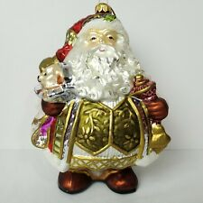 Fitz And Floyd Large Santa Claus Christmas Glass Ornament Collectible 191102