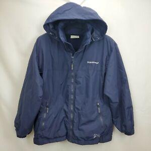 Horseware Ireland Fleece Lined Jacket Size Medium Navy Blue Hooded Full Zip