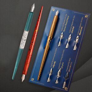 Fountain Pens Vintage Wood Calligraphy Dip Holder 6 Nibs Lettering Sketching  L3