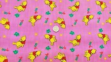 Pink Winnie the Pooh Poly/cotton fabric/material - free uk p&p