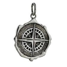Compass Wax Seal Charm - 925 Sterling Silver Gift Navigate Graduation Pendant