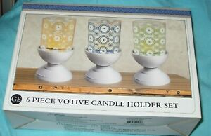 GE 6 pc. Votive Candle Holder Set Circles and Daisies Yellow,blue, green NEW