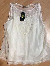 Lauren by Ralph Lauren Cream Knit Top, Lace Yoke, Size L Retails $89.50 Pearl Lg