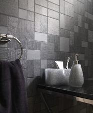 Holden Wallpaper - Black / Grey & Silver Glitter Tiles - Tiling On A Roll 89240