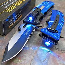 TAC-FORCE Blue POLICE Spring Assisted Open LED Tactical Rescue Pocket Knife NEW!