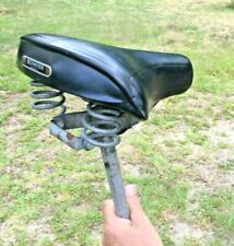 Vtg 1970s SCHWINN Black MESINGER T 85 BICYCLE SEAT SADDLE w/ Post  Collegiate