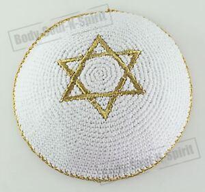GOLDENER Davidstern gehäkelte Kippa ethnische jüdische Schädeldecke aus Israel