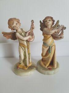 """2 Vintage Depose Italy Fontanini Angel Figurines 6"""" Tall 362 364"""