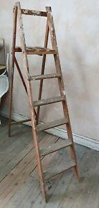 Vintage Display Prop Garden Wooden Lattice Step Ladder 5 steps solid folding (9)