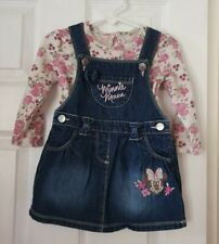 Baby Girls Denim Pinafore Minnie Mouse Dress And Top Set 12-18 Disney @ Matalan