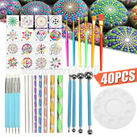 40 PCS Mandala Pen Dotting Rock Dot Nail Art Paint Stencil Painting Tools Kit AU