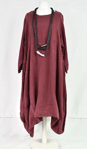 LA BASS 100% FLAX linen asymmetric dress Bordeaux   size XL/XXL