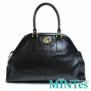 Auth Gucci GG Marmont Large Top Handle Shoulder Bag 515937 Black Leather Tiger H