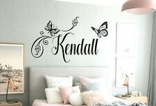BUTTERFLY Wall Decal Sticker Personalized NAME Vinyl Girl's Bedroom Decor 23x16