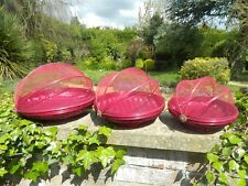 Food Cover Carrier Fruit Bowl - Set of 3 Bamboo Netting Food Covers - Burgundy