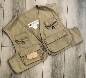 bintage Columbia PFG Vest Hunting Fly Fishing Khaki Sz XL Pockets *Free Ship*