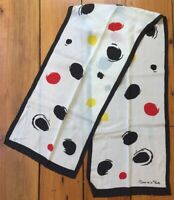 Vintage Oscar De La Renta Abstract White Black Red Yellow Dot 100% Silk Scarf