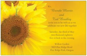 30 50 80 100 Country SUNFLOWER Golden Yellow 5X7 WEDDING Invitation Custom