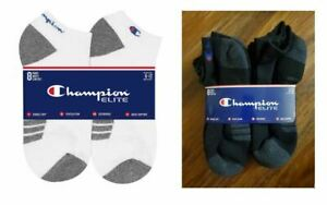 NEW Men's Champion Elite 8 Pack Socks Low Cut Cushioned Arch Support sz 6-12