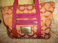 COACH ORANGE AND PINK POPPY LARGE TOTE