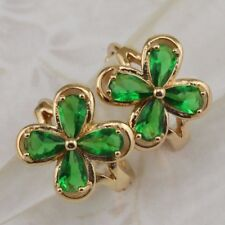 Crazy Stylish Flower Emerald Green Gems Jewelry Gold Filled Stud Earrings h2836