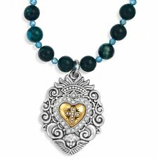 New Brighton DEVOTION SACRED HEART Blue Bead Swarovski Crystal Necklace $98
