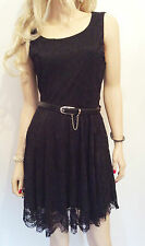 Simply Fab Size 16 Black Lace Skater DRESS Belt Party LBD New Occasion