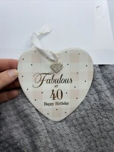 Fabulous At 40 Heart Ceramic Wall Plaque with diamante heart