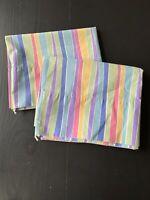 Vintage JC Penny's Pair Pillowcase Bright Pastel Rainbow Stripe Standard